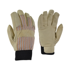Glove-Pigskin-Flan.-Striped-Elast.knit