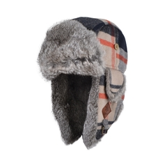 Hat-Wool blend-Quilted nyl.-Fur