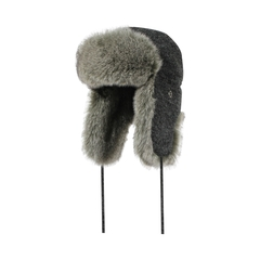 Hat-Acry. knit-Quilted nyl.-Fake fur