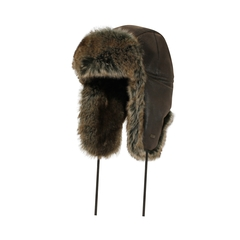 Hat-Fake leather-Quilted nyl.-Fake fur