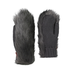 Mitt-Acrylic knit-Synth.fur-Fleece