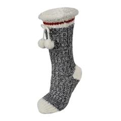 Slippers socks-Acrylic knit-Plush-Pompom