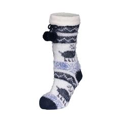 Slippers socks-Acrylic knit-Poly.-Pompom