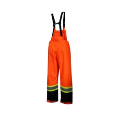 Bib pants-Polyester 300D PU-Reflect.stripe-Heat resistant