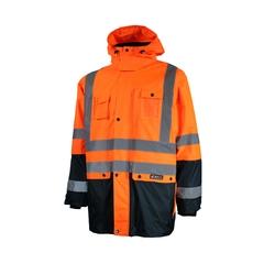 Jacket-Unisex-Polyester 300D PU-Reflect.stripe-Hood