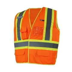 Sleeveless vest-Poly. knit 140gr-Reflect.stripe