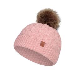 Tuque-Acry. knit-Plush-Pompom